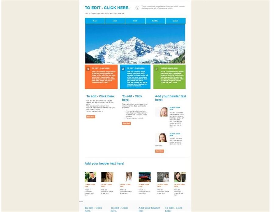 Information based website template