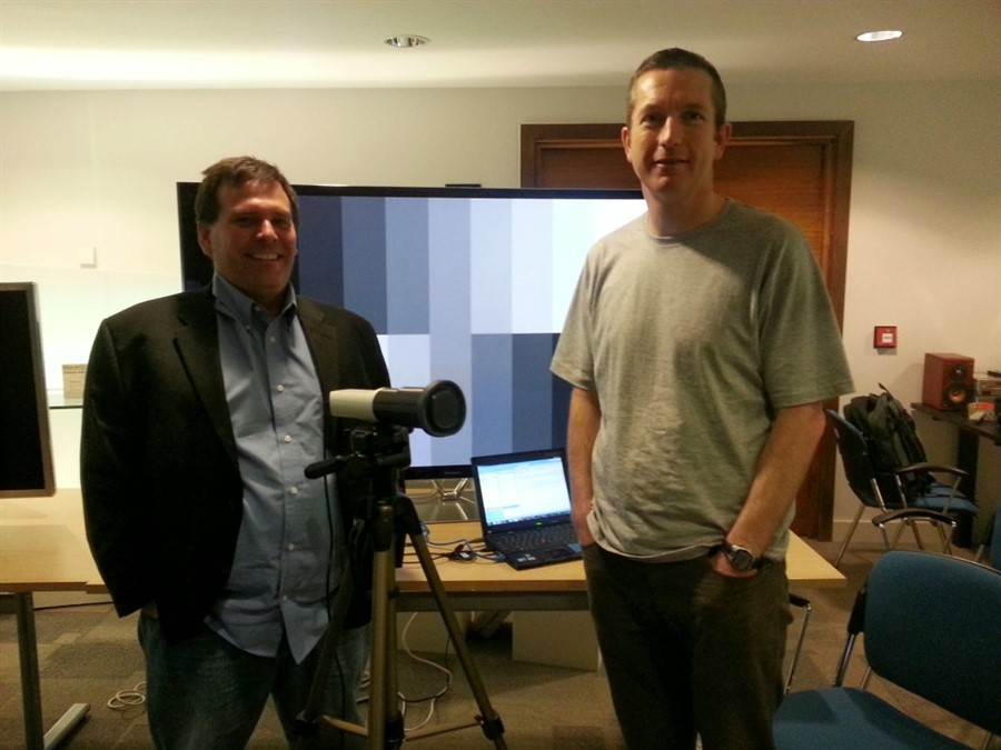 Gregg Loewen (THX Lead Video Standards Instructor)  Dr Julian Scott (THX Classroom Assistant) at THX Video Professional Training Course, JVC House, London.